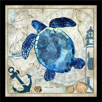 Sea Turtle Dictionary Art Print Fishing Sea life Vintage Nautical