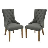 Boudreaux Polyester/Polyester blend Upholstered Wingback Parsons Chair in Black (Set of 2) by One Allium Way®