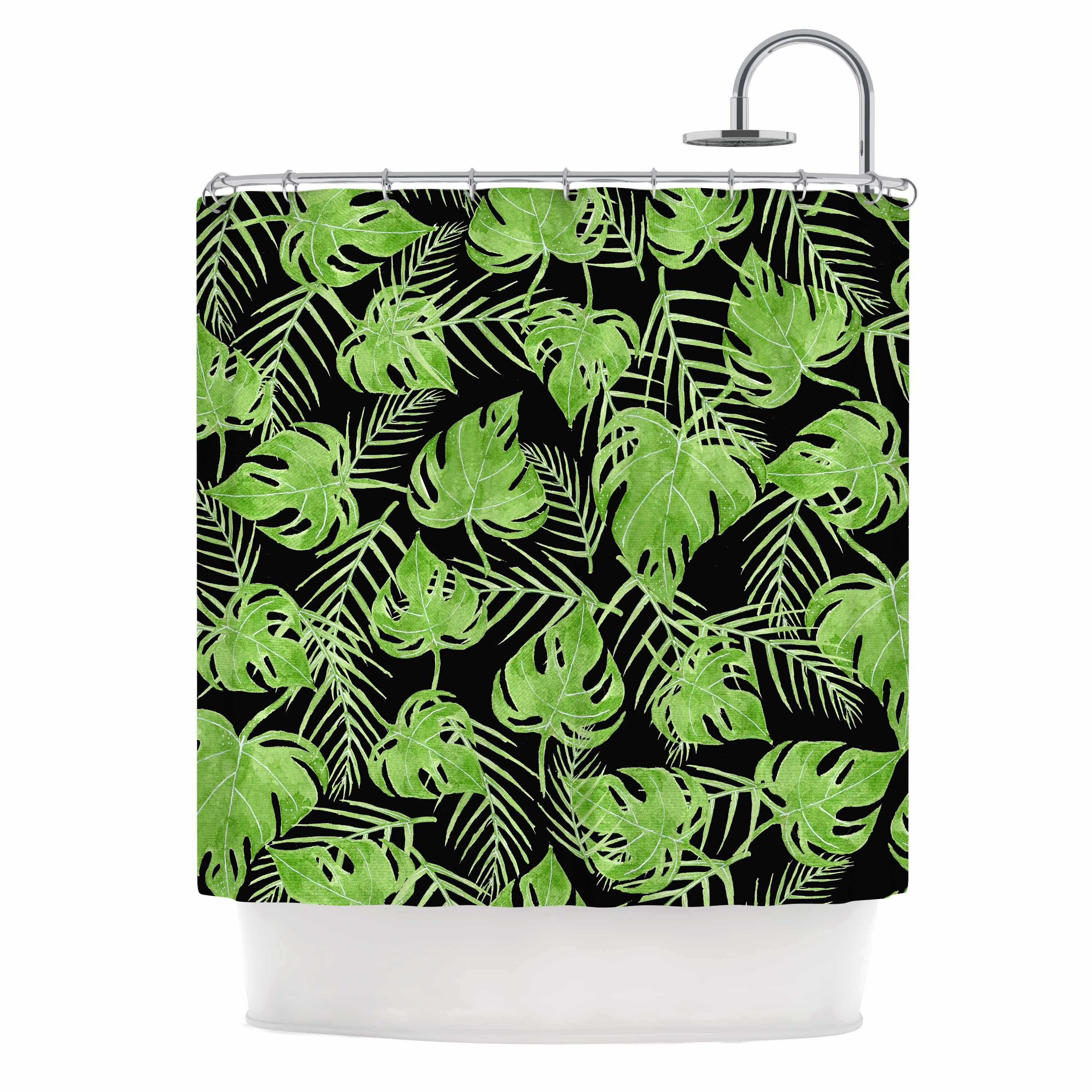 East Urban Home Green Leaves Shower Curtain Reviews