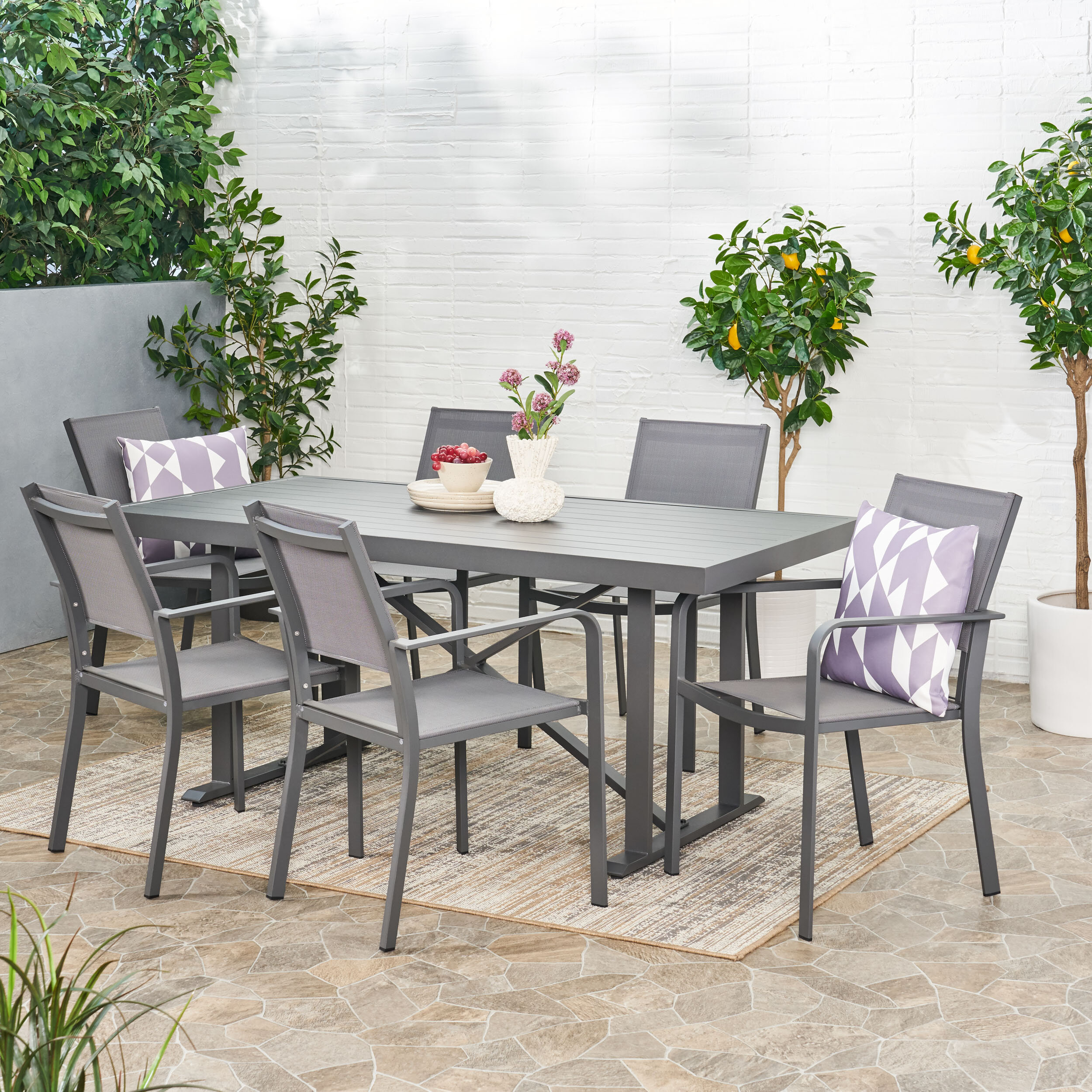 7 Piece Latitude Run Metal Patio Dining Sets You Ll Love In 2021 Wayfair