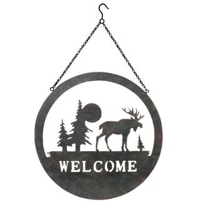 Sunset Moose Welcome Wall Décor