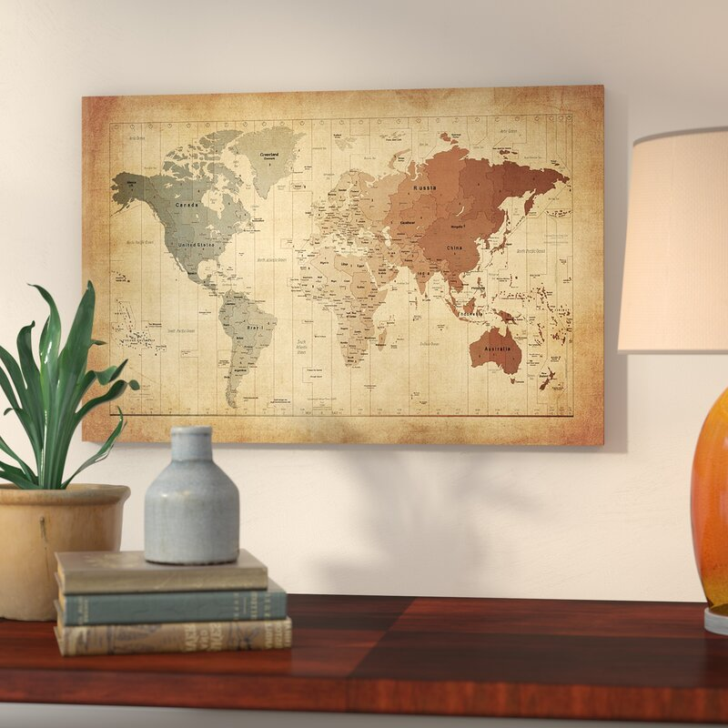 East Urban Home \'Map of the World III\' Graphic Art Print & Reviews ...