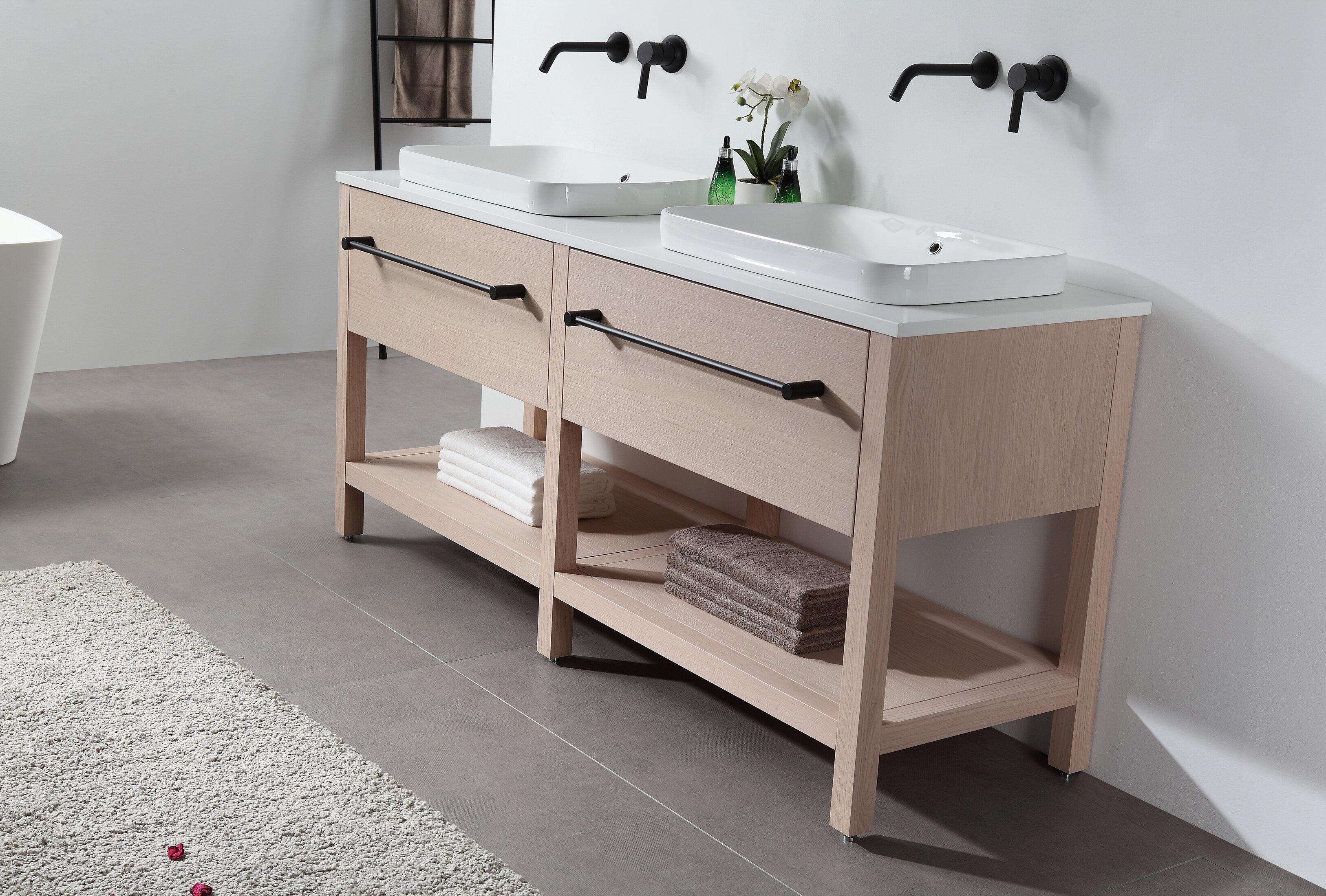 Orren Ellis Barnegat 67 Double Bathroom Vanity Set With Mirror Wayfair