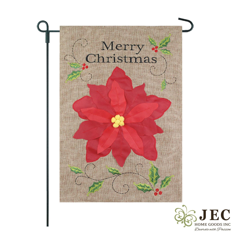 Jec Home Goods Christmas Poinsettia 2 Sided Burlap 18 X 13 In Garden Flag Wayfair