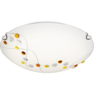 Ebern Designs Haddix Platinum 1-Light LED Flush Mount