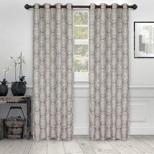 Brecksville Haus&Home Jacquard Floral Blackout Grommet Curtain Panels (Set of 2) by Bloomsbury Market