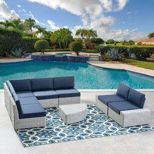 Glendon 7 Piece Rattan Sectional Set with Cushions
