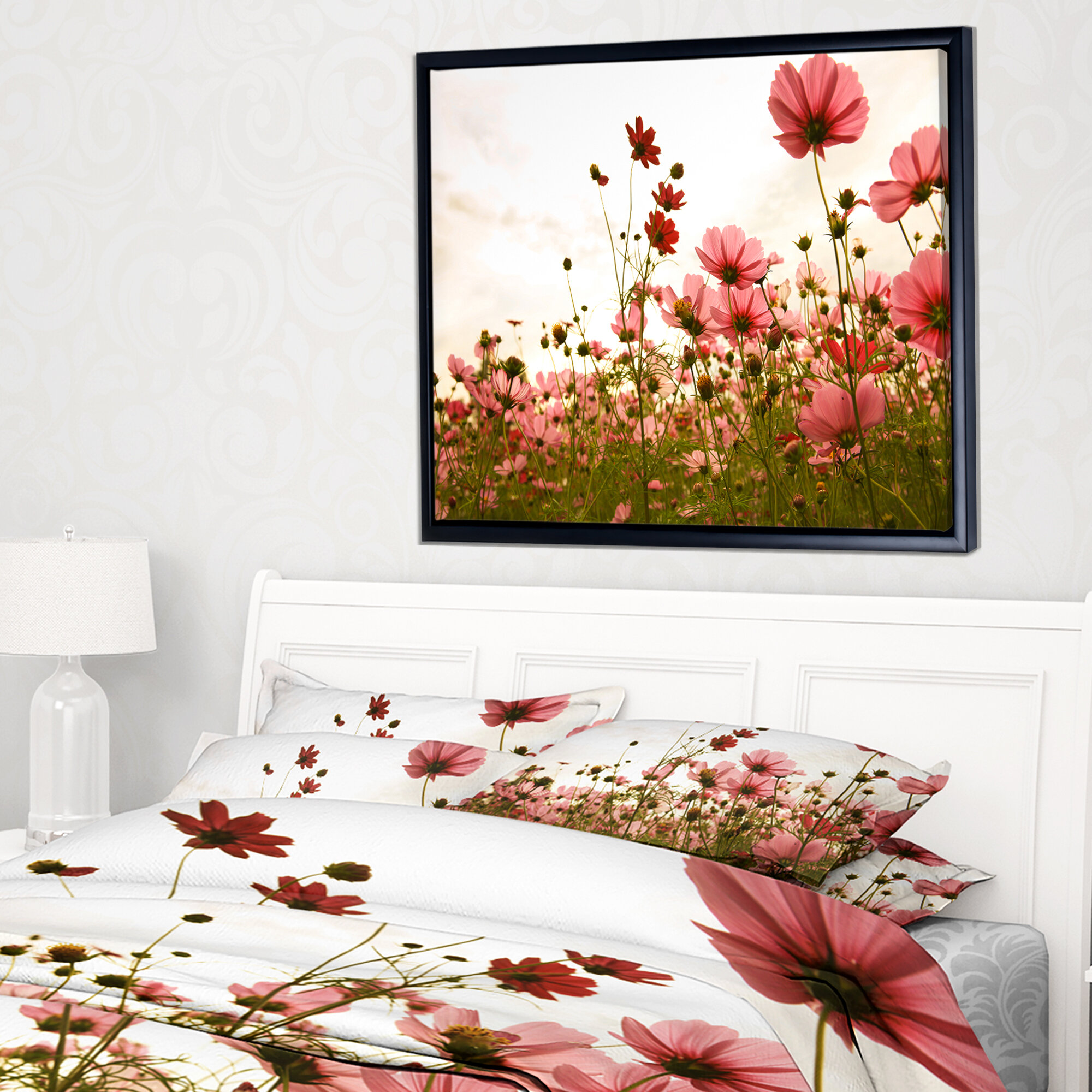 East Urban Home Beautiful Cosmos Flowers Garden Framed Photographic Print On Wrapped Canvas Wayfair