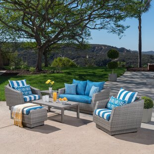 Wade Logan Castelli 6 Piece Rattan Sunbrella Sofa Set with Cushions