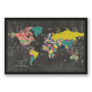 World map framed art youll love wayfair colorful world map graphic art print on canvas gumiabroncs Image collections