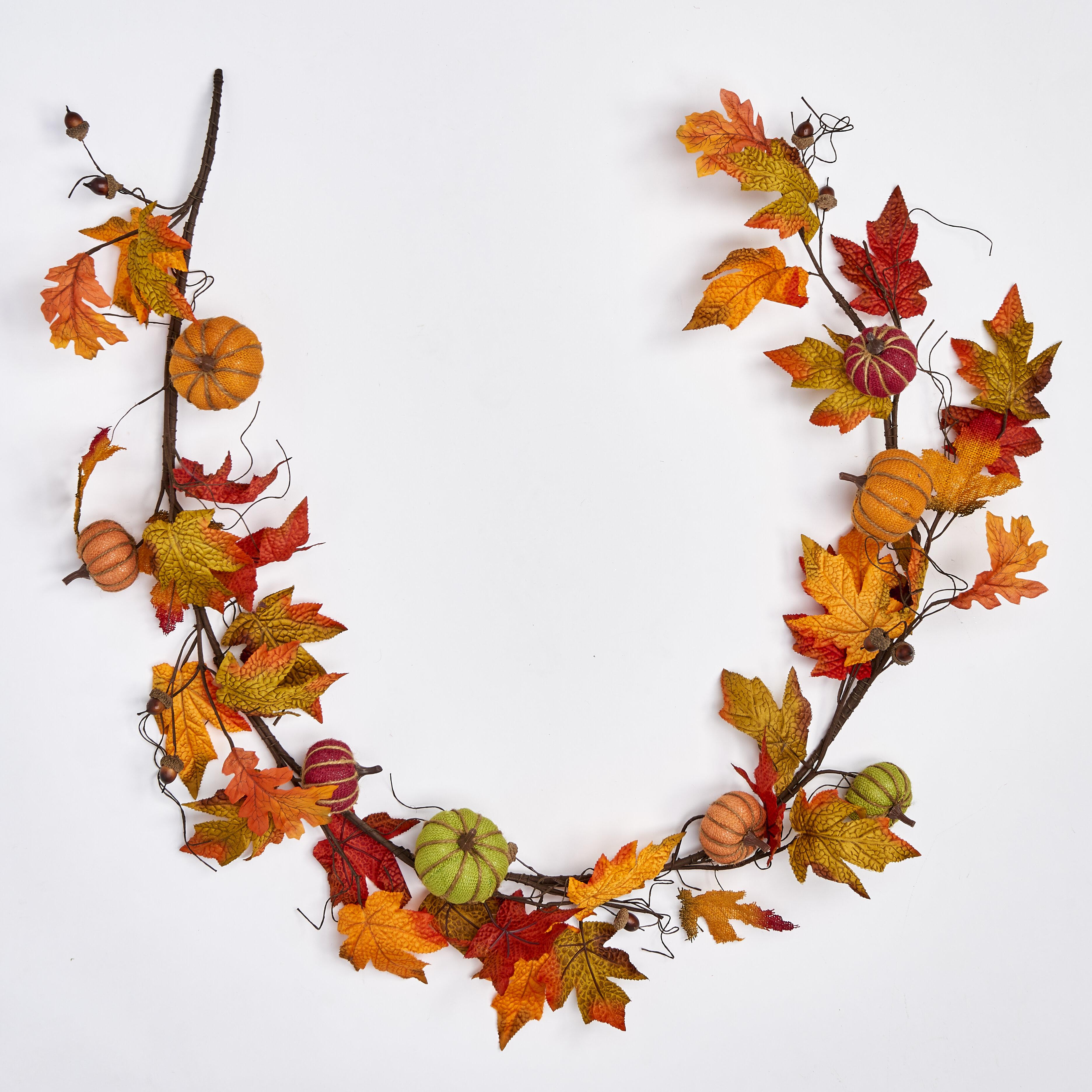 Worth Imports 6 Burlap Pumpkin With Maple Leaves Garland Reviews Wayfair Ca