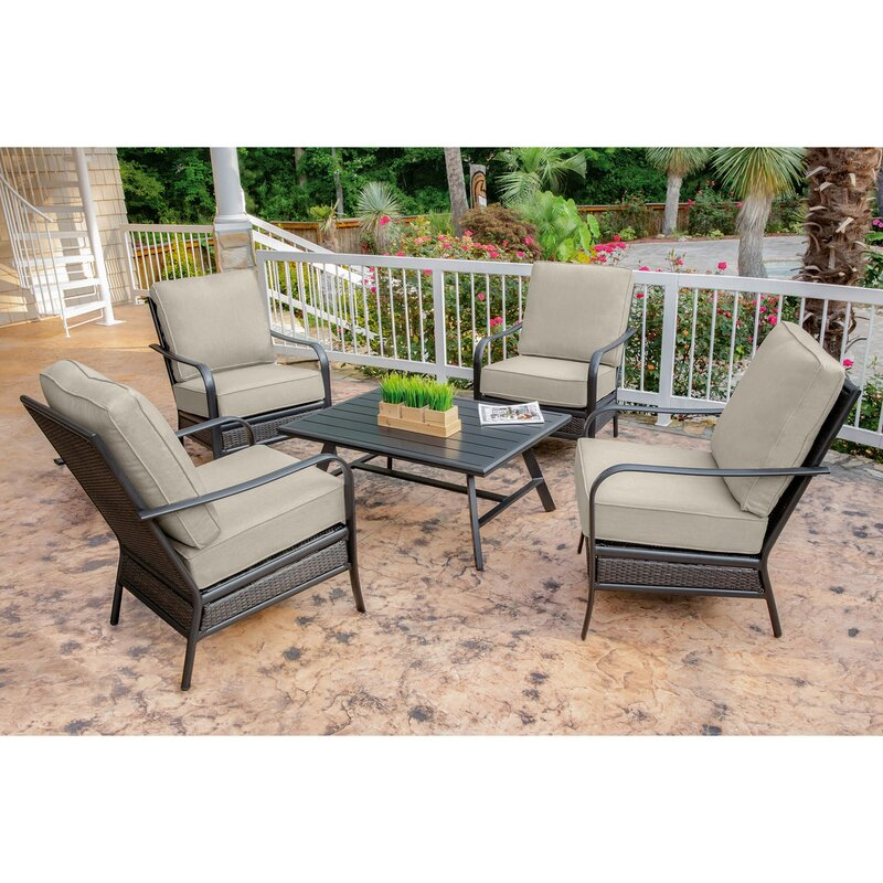 Charlton Home Becerra 5-Piece Commercial-Grade Patio Set with 4