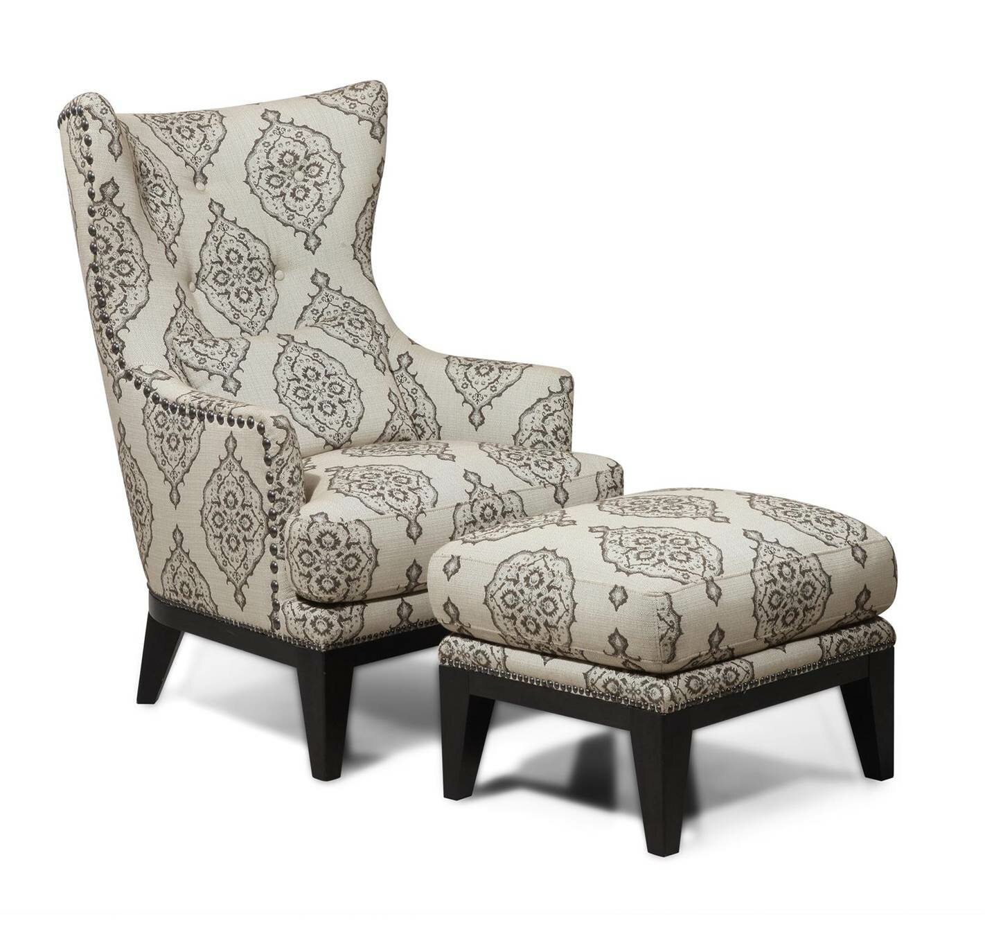 Darby Home Co Baltic Wingback Chair And Ottoman U0026 Reviews   Wayfair