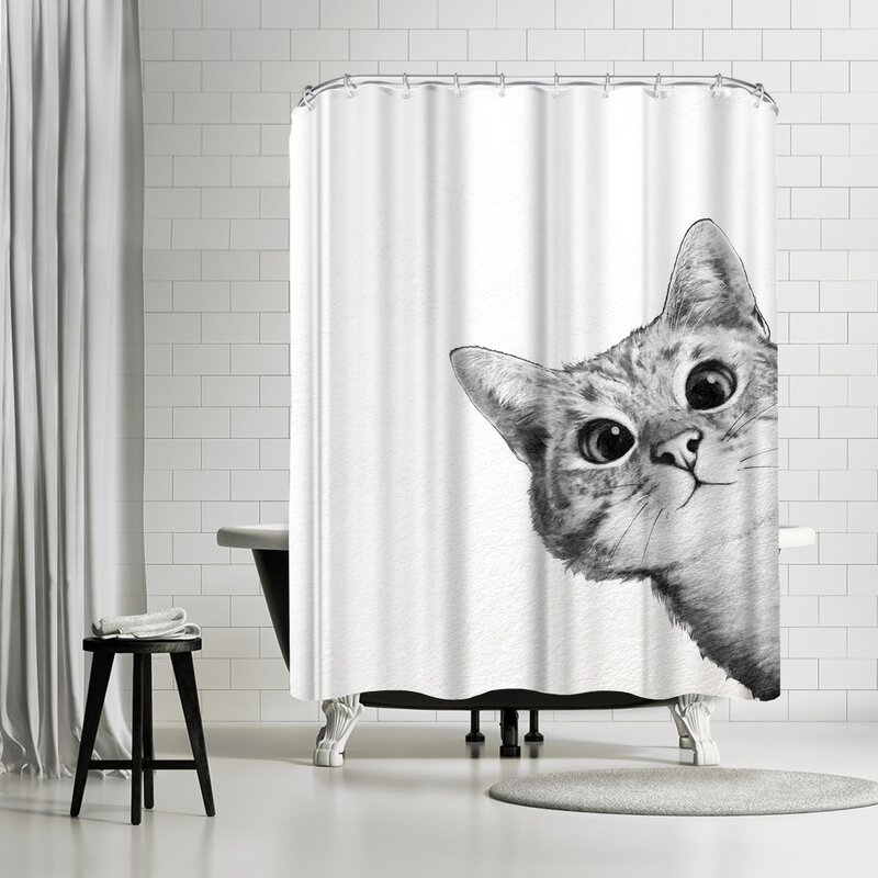 East Urban Home Laura Graves Sneaky Cat Shower Curtain | Wayfair