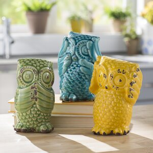 Wise Owl 3 Piece Figurine Set