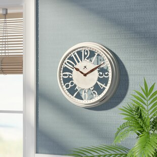 Review Gingras 12 Round Antique White Wall Clock by Rosecliff Heights