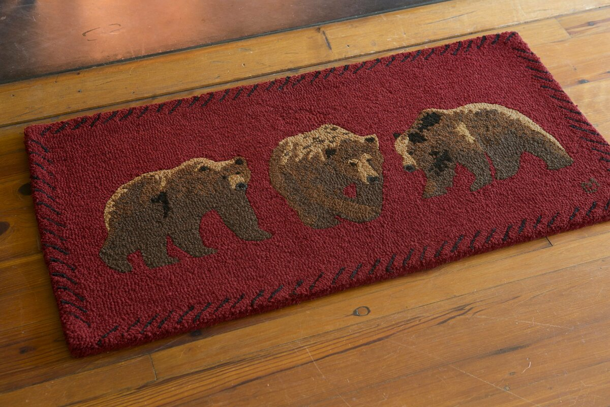 Bear Hand Hooked Wool Area Rug