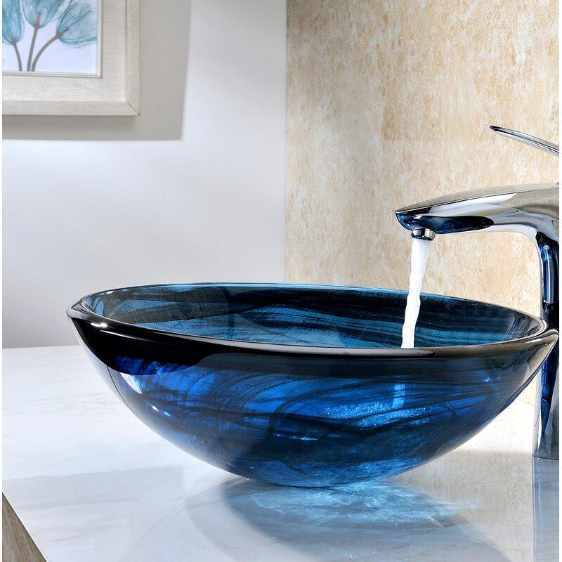 Anzzi Thalu Sapphire Wisp Tempered Glass Circular Vessel Bathroom Sink Wayfair