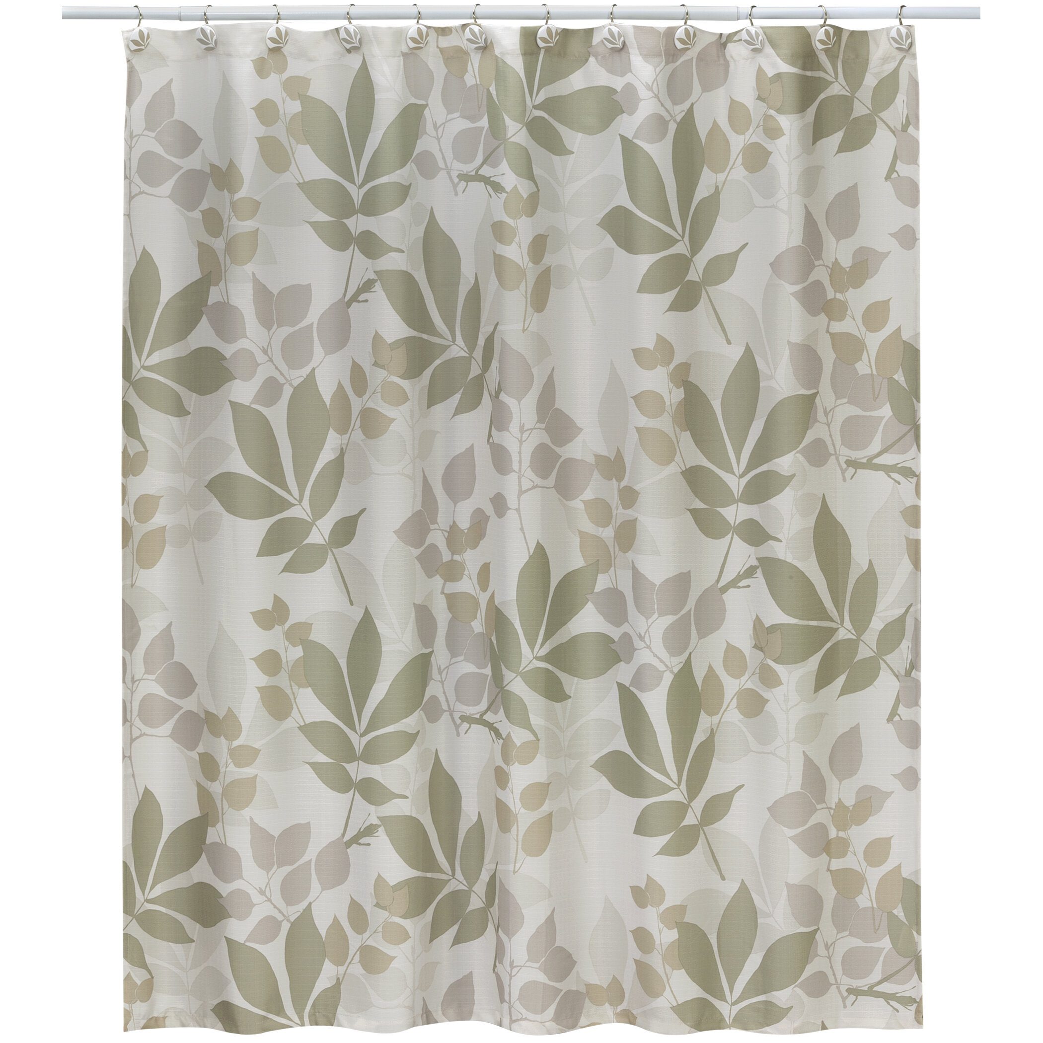 Andy Shadow Leaves 100 Cotton Shower Curtain