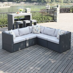 Lachesis Patio Sectional with Cushions Mercury Row