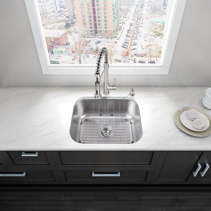 23 inch undermount 18 gauge stainless steel kitchen sink vigo 23 inch undermount 18 gauge stainless steel kitchen sink      rh   wayfair com