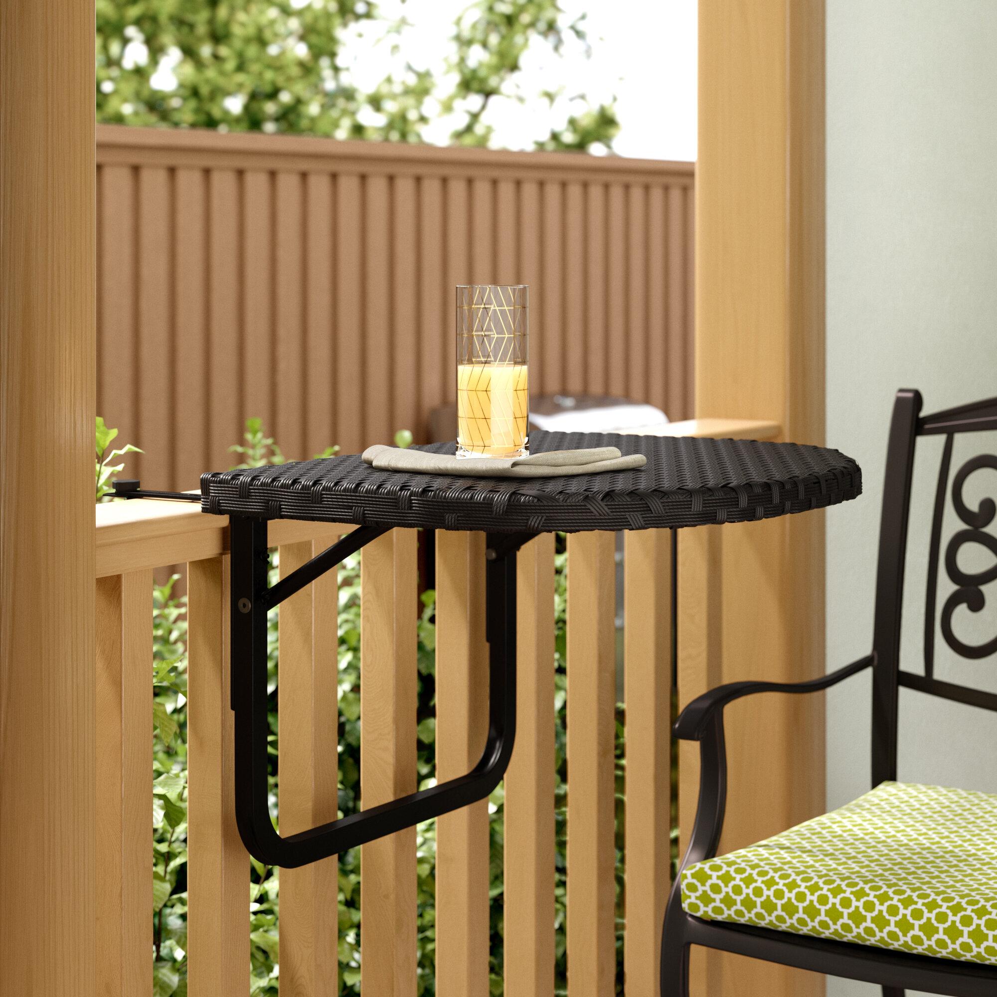Ebern Designs Cropsey Wicker Rattan Balcony Table Reviews Wayfair