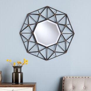 Coll Round Metal Wall Mirror byMercury Row