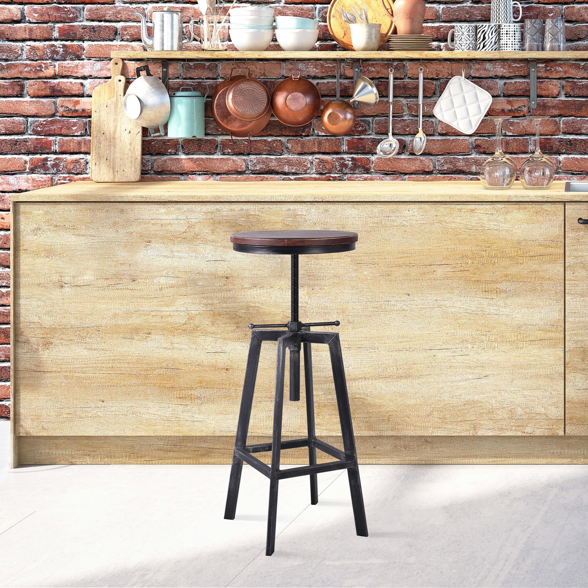 Image of: Williston Forge Amatury Backless Metal Adjustable Height Swivel Bar Stool Set Of 4 Wayfair