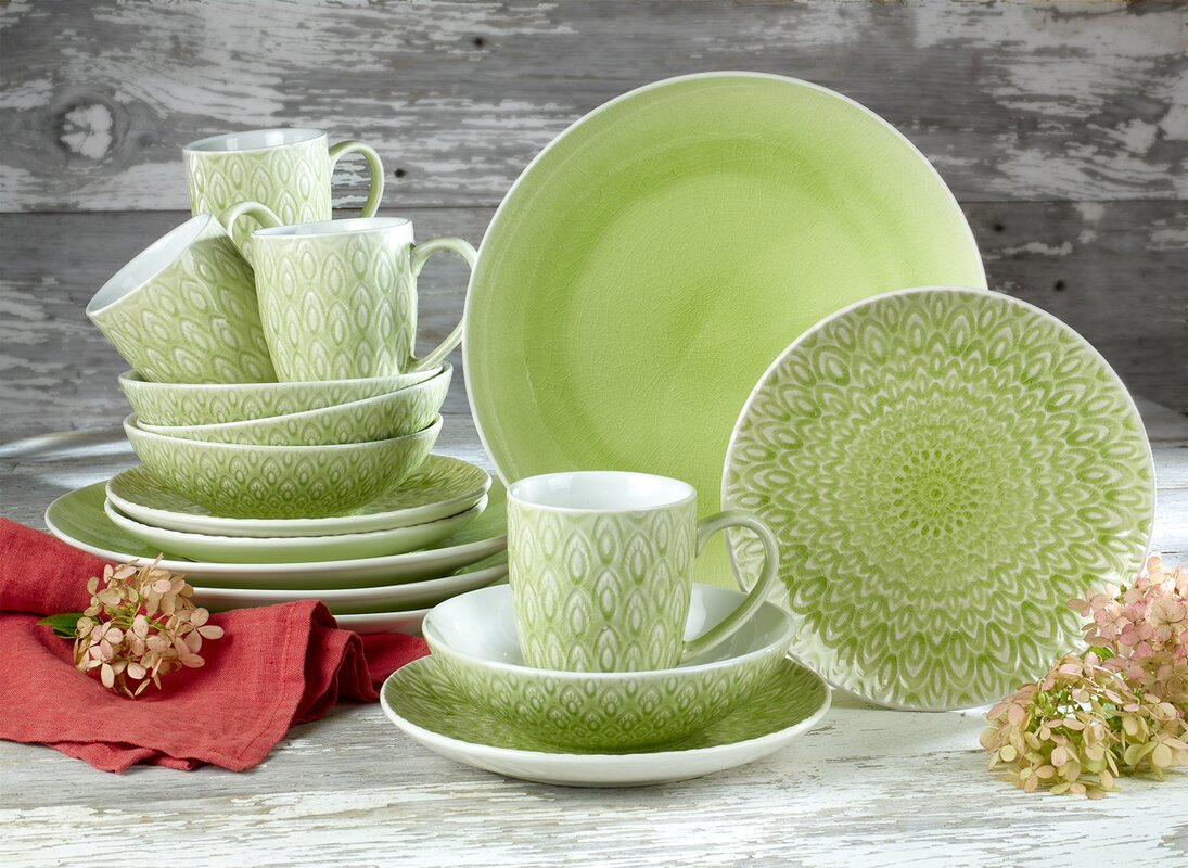 Peacock Crackleglaze 16 Piece Dinnerware Set Service for 4 & Euro Ceramica Peacock Crackleglaze 16 Piece Dinnerware Set Service ...