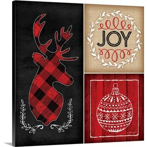 'Plaid Christmas I' by Jennifer Pugh Graphic Art on Wrapped Canvas
