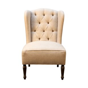 One Allium Way Vanina Burlap and Linen Wingback Side Chair