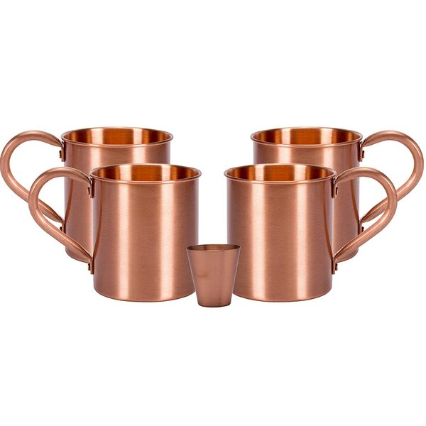 Melange 24 Oz Copper Classic Mug For Moscow Mules Set Of 24 With Six Shot Glasses Heavy Gauge No Lining Includes Free Recipe Card Wayfair