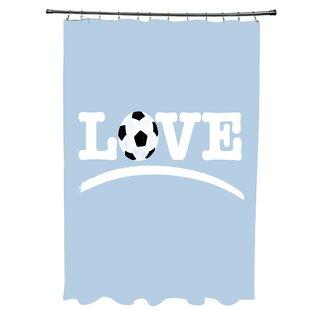 Zoomie Kids Bauer Love Soccer Word Shower Curtain