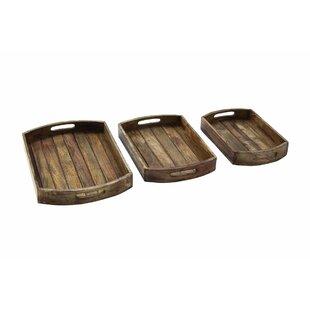 3 Piece Wood Tray Set