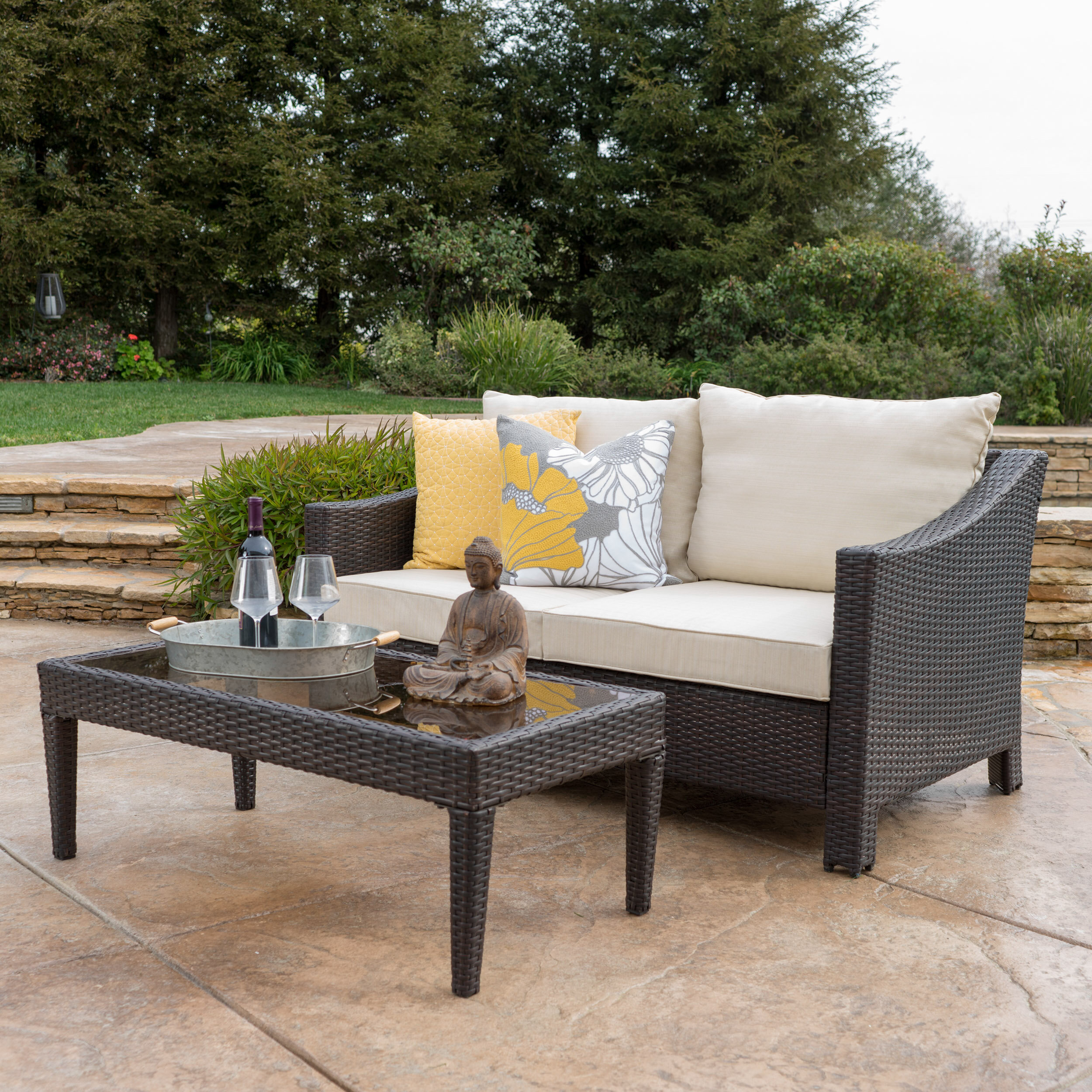 Danica Patio Loveseat & Ottoman Set & Reviews