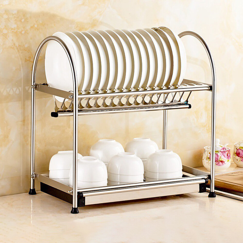 Kingso Stainless Steel 2 Tier Dish Rack Wayfair