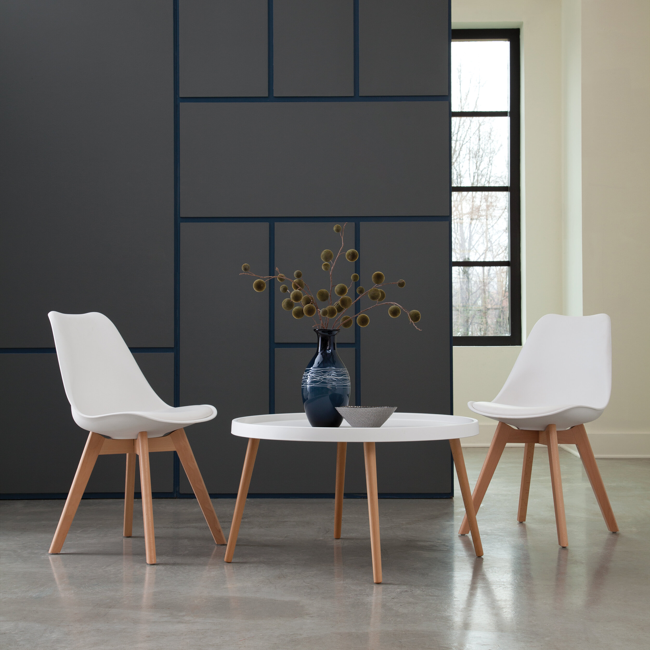 George Oliver 161 Collection Mid Century Modern 18 Plastic Moulded Dining Chairs With Vinyl Seat Cushion Solid Beechwood Legs 2 Pack In Black Ab725d9198d746509b7ba0dc6d2c0353 Reviews Wayfair Ca