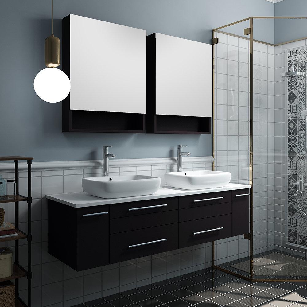 Fresca Lucera 60 Wall Hung Double Vessel Sink Bathroom Vanity Wayfair