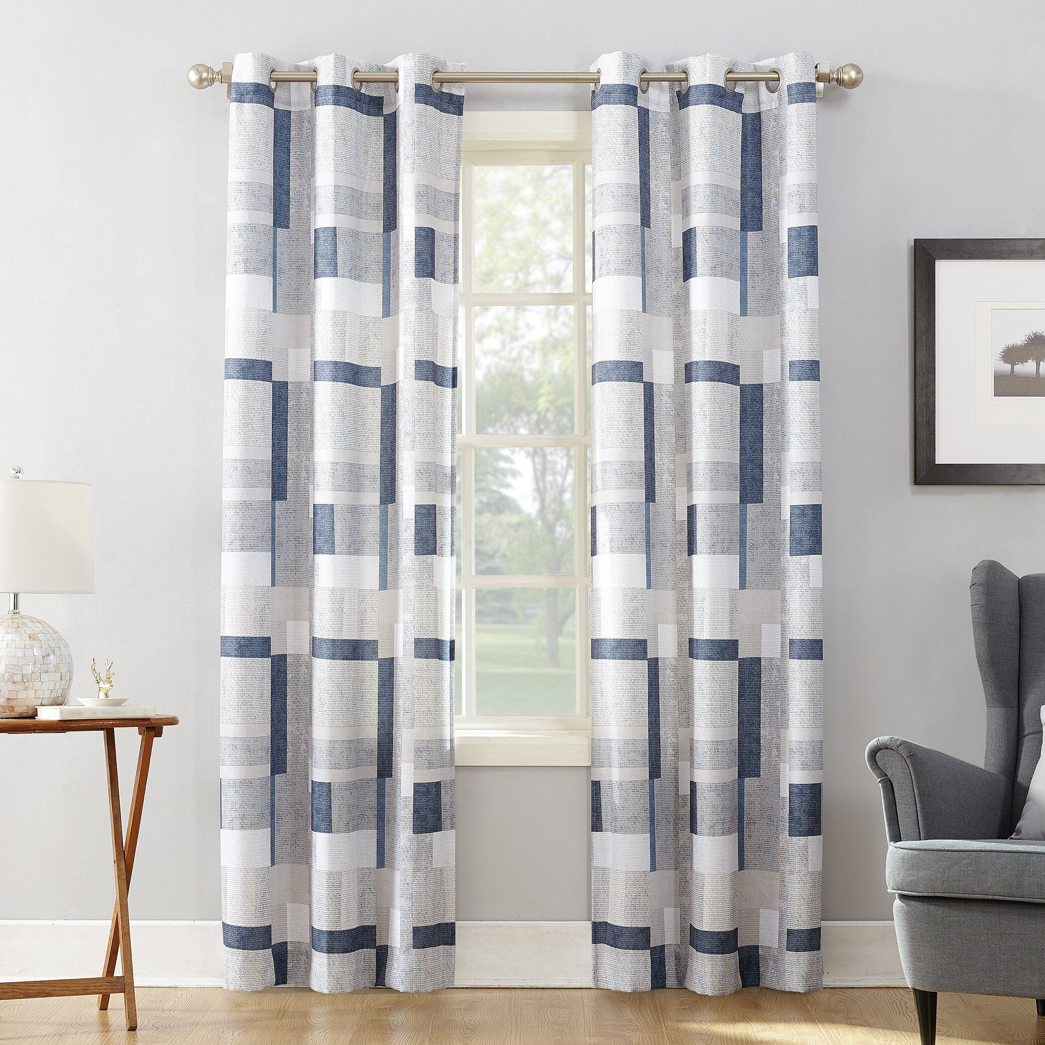 Mercury Row Antunez Geometric Semi Sheer Grommet Single Curtain Panel Reviews Wayfair