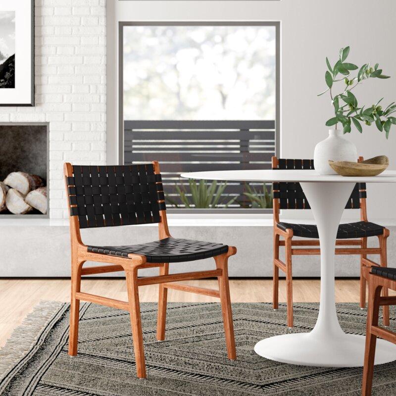 Allmodern Bridget Solid Wood Woven Leather Dining Chair Reviews Wayfair