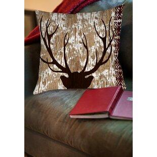 Printed Square Deer Throw Pillow