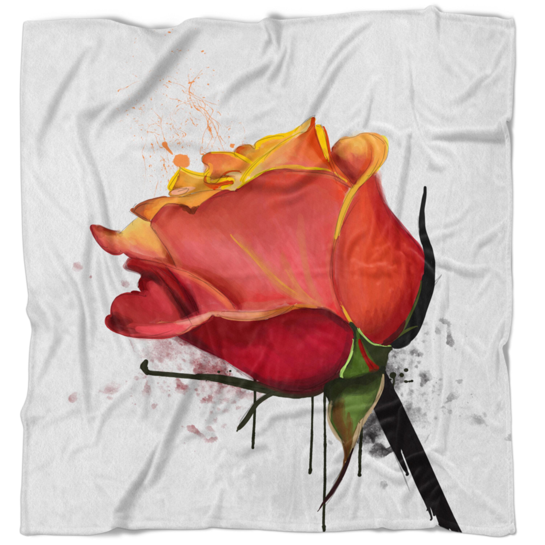 East Urban Home Floral Isolated Rose Watercolor Sketch Blanket Wayfair