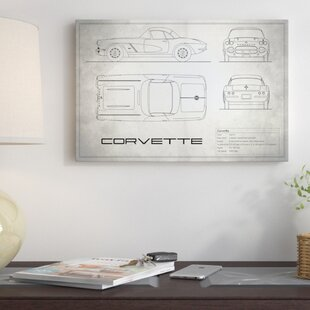 'Chevrolet Corvette C1 Body Type' Graphic Art Print on Canvas in Vintage Silver By East Urban Home