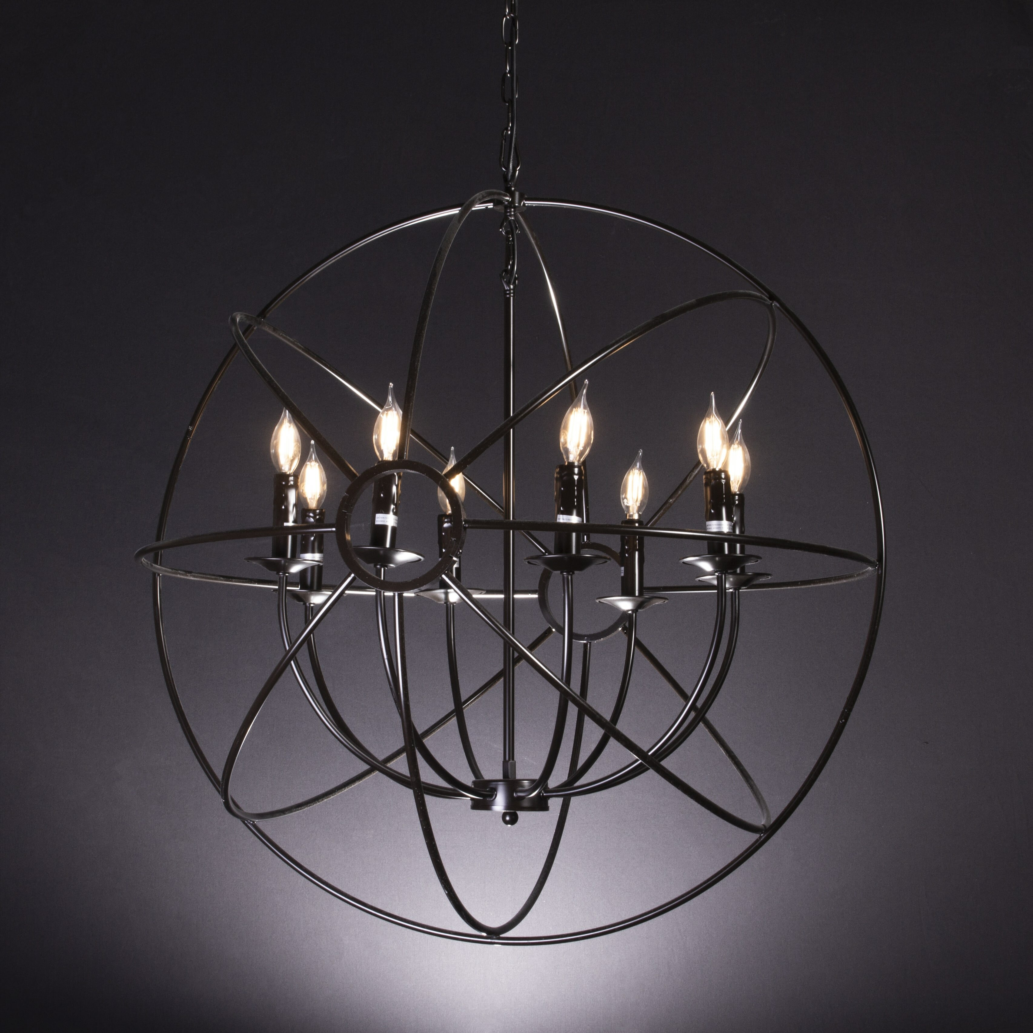 8 Light Candle Style Globe Chandelier
