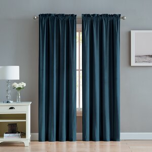 Kiker Velvet Solid Color Room Darkening Rod Pocket Curtain Panels (Set of 2)