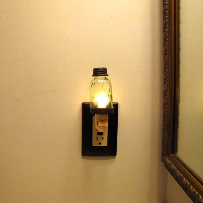 Mason Jar Plug In Wall Lamp Bulb Night Light