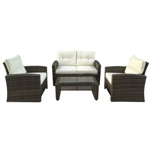 Polakova 4 Piece Rattan Sofa Set with Cushions
