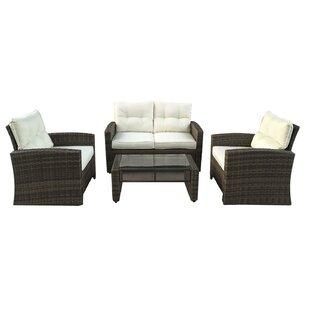 Polakova 4 Piece Rattan Sofa Set with Cushions by Red Barrel Studio