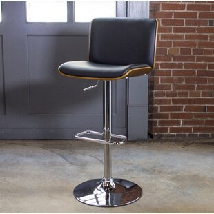 Bent Wood Faux Leather Adjustable Height Swivel Bar Stool by AmeriHome New