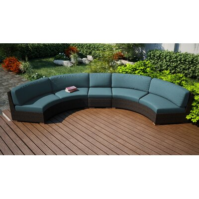 Hodge Extended Curved Patio Sectional With Cushions Rosecliff Heights